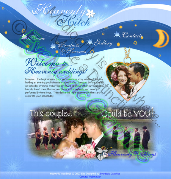 Custom built web site for a wedding venue. Photography, graphic design, and maintenance provided by Michael Phillips (www.eyemagicgraphics.com). Features included customized music compositions, trendy and interactive animation throughout the site's pages, gorgeous photography and artwork compositions, image galleries, special effects, and more.