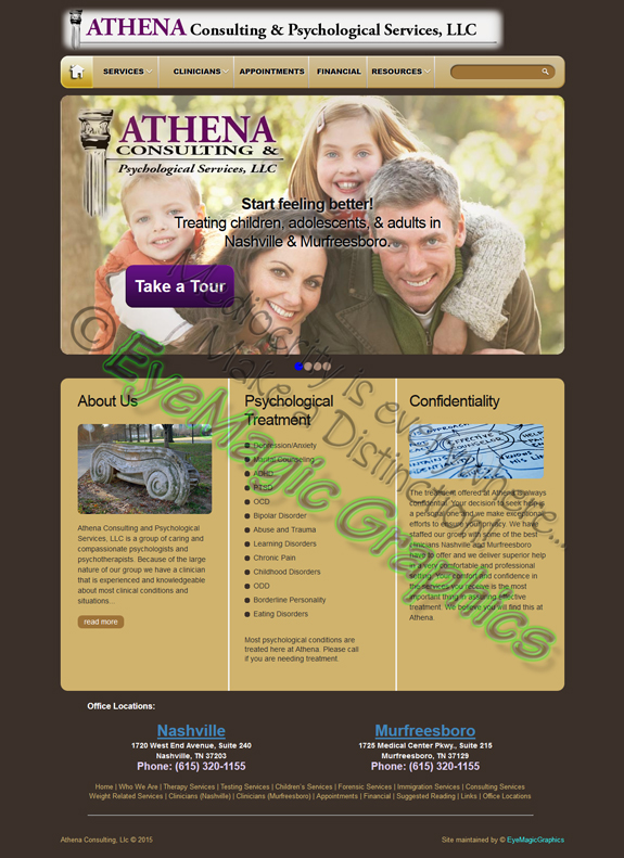 Athena Consulting & Psychological Services website screenshot